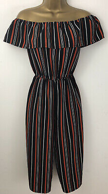 New Look Girls Jumpsuit Black Stripe Bardot Wide Leg Cropped Age 12 Years