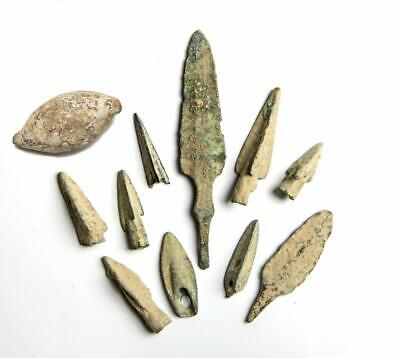 Ancient Greek Bronze  of Arrowhead Points and Slingshot Collection. 4th Cent BC