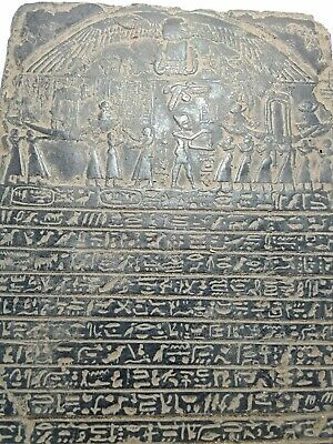 RARE ANTIQUE ANCIENT EGYPTIAN Stela King Ramses Funeral Boat Fly Tour 1292 Bc