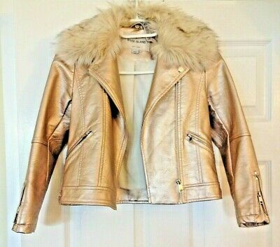 Girls age 8 River Island Gold Leather Look biker Jacket detachable Fur Collar