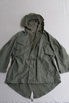 1940s US Military M-49 Fishtail Parka Shell, Small, Fur Removed