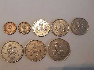 Old British coin collection, 1/2 p to 50p 1971-1980, 2 half p from 1971 and '76