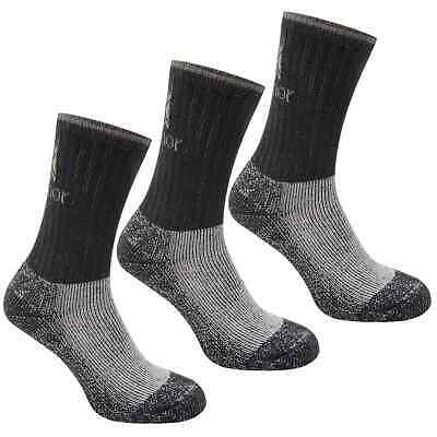 Karrimor Junior Heavyweight Boot Socks Walking 3 Pack Uk 1-6 Black New