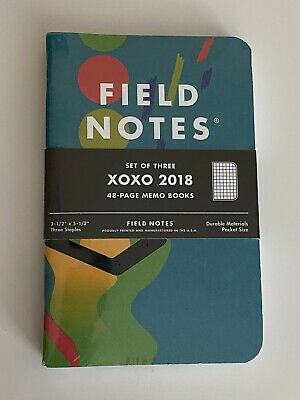 Field Notes 'XOXO 2018' - New/Sealed 3 Pack Notebooks - Limited Edition