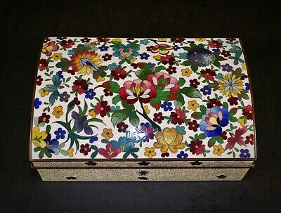 Very Rare Antique Meiji Japanese Cloisonne Locking Jewelry Casket Trinket Box