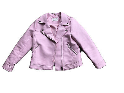 Zara Girls Pink Faux Leather Jacket Age 10 (Size 140cm). Immaculate