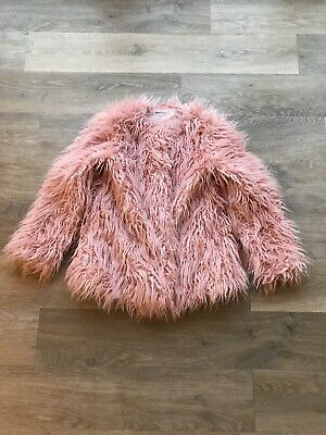 Minoti Girls Pink Shaggy Faux Fur Coat Age 9-10 (134-140cm). Immaculate.