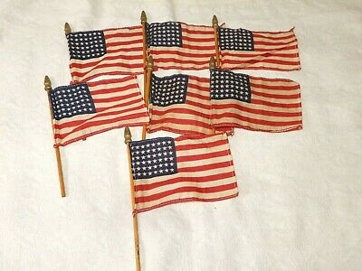 LOT OF 7 WWII VINTAGE 48 STAR PARADE FLAGS on POLES