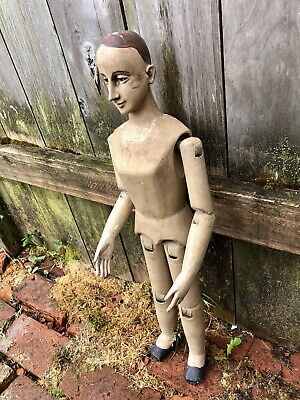 """Late 19th Century Carved Jointed Wood Santos, Glass Eyes, 25"""" Tall"""