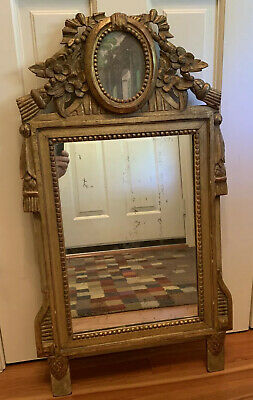 French 19th Century Louis XVI St Double Framed Giltwood Mirror Floral & Tassles