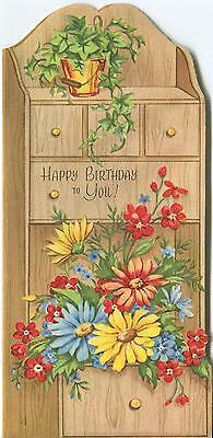 Vintage Green Ivy Plant Blue Yellow Orange Daisy Garden Flowers Curio Card Print