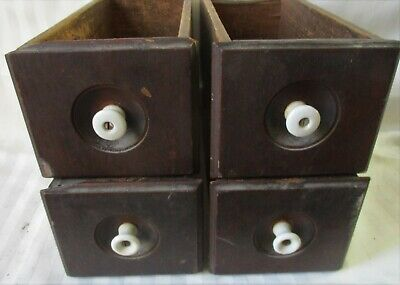 WALNUT set of 4 ANTIQUE TREADLE SEWING MACHINE DRAWERS PORCELAIN KNOBS