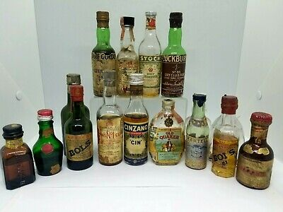 Lot 16 OLD Miniature Liquor Bottles Mini Booze Sealed & Empty Tax Stamps NR