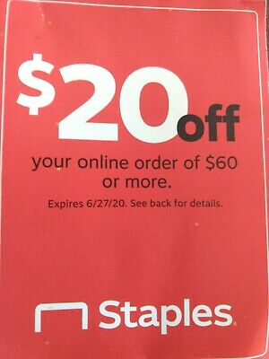 $20 off $60 staples coupon online orders only