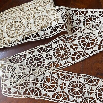 Antique Italian Reticella Border Lace Needlelace Drawnwork Wide Picot Edge Yards