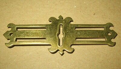 Vintage Ornate Roll Top Desk Brass Key Hole Escutcheon Cover~Stock Part b