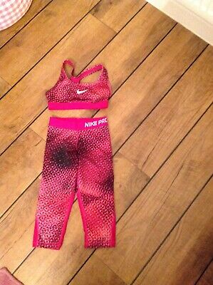 Girls Nike  pro Crop Leggings And Matching Crop Top Age 8-10