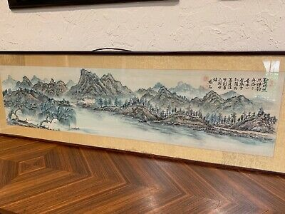 Antique Chinese painting lake & mountains calligraphy 3 red collector seals Qing