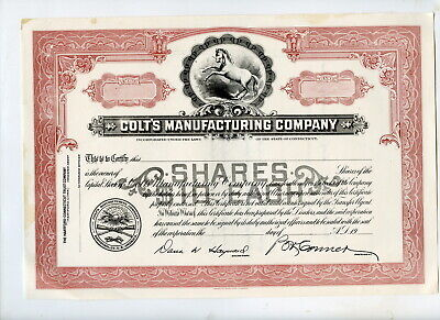 Unused Stock Certificate, KColt's Manufacturing Company