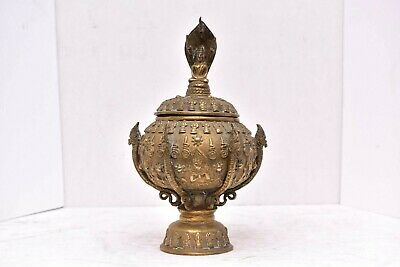 VTG Bronze LIDDED URN JAR BOX HINDU Temple shrine STATUE DEITY Goddess Buddha