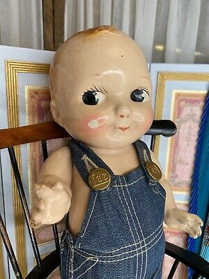 "12.5"" Antique Buddy Lee Doll In Original Lee Overalls Denim 1930s"