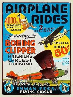 1929 Inman Flying Circus Boeing Clipper Vintage Style Travel Poster - 18x24