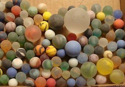 100 Vintage Glass Satin Marbles Swirls Cats Eye Jewel Frosted Shooters Boulder