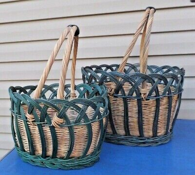 2 Baskets Large Blue Nesting Handles Wicker BIG Catch All Toy Basket Easter