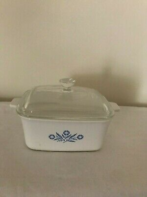 Vintage Corning Ware Blue Cornflower 1.5 Qt Casserole Baking Dish P-4-B and Lid