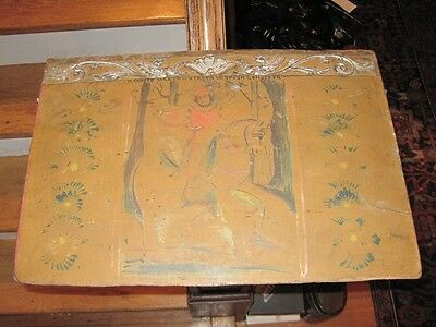 Antique Venetian Painted & Carved Mural on Wood Fragment Panel c1800