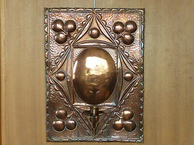 Art Nouveau Copper Wall Sconce Candle Holder Lamp English