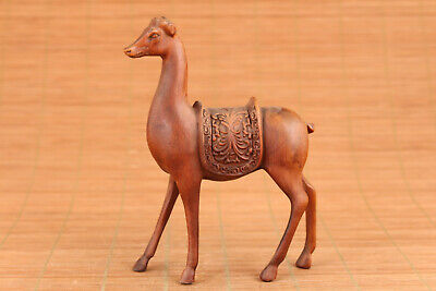 chinese old boxwood hand carved horse figure statue netsuke home decoration