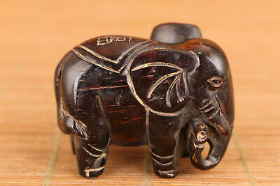 Art Chinese yak horn hand carving elephant figure statue snuff bottle table deco