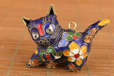 Rare chinese old cloisonne Hand painted cat statue netsuke collectable gift