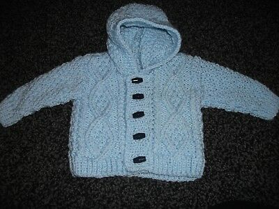 New Hand Knitted Baby Hooded Aran Cardigan 0/3mths Baby blue.