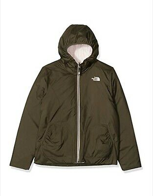 The North Face Kids Girls Reversible Perrito Jacket Pink Taupe Green -Size Small
