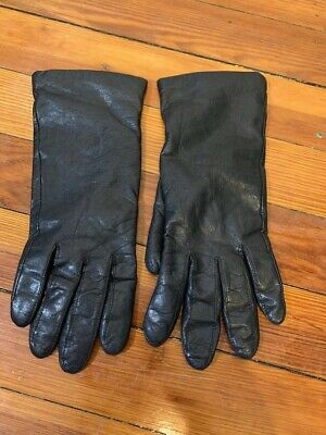 Fownes Black Leather Gloves with Cashmere Lining Women's Size 7