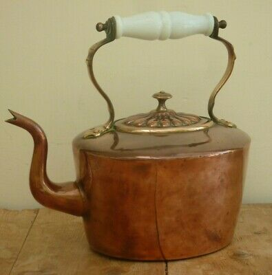 Vintage Kettle Cooper and Brass Oval Shape with Ceramic Handle