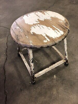 Vintage OLD CHIPPY PAINT SMALL METAL STOOL - Sunahmie Collectables
