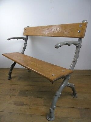 Victorian Coalbrookdale Type Garden Bench Cast Iron Oak Seating Old Knotted