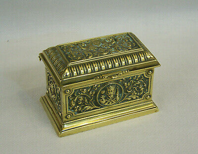 C1887 Ornate Antique Heavy Cast Brass Box For 2 Packs Of Playing Cards Canasta ?
