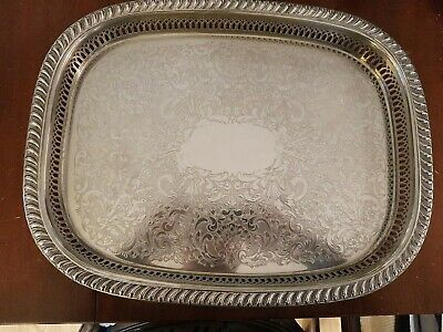 Vintage Large Silver Plated Galleried Serving Tray