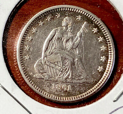 1861 SEATED LIBERTY QUARTER 25C XF EXTRA FINE Extremely Fine Civil War Coin
