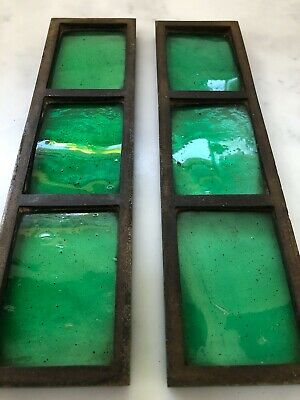 salvaged antique Arts & Crafts 'copper light' stained glass panels