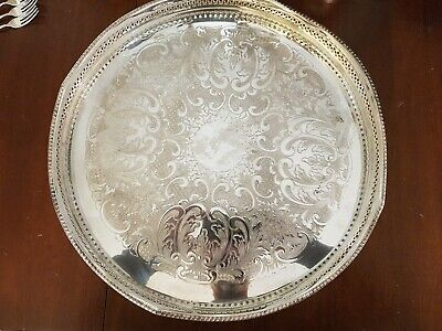 Vintage Silver Plated Large Galleried Serving Tray On ball and Claw feet