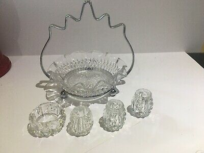 Vintage Cut Glass Condiment Bowl  With  Stand And Small Jars