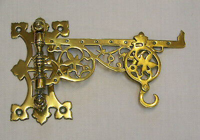 Antique Cast Brass Kitchen Fire Crane & Hook For A Spit Jack Cooking Pot Or Pan.