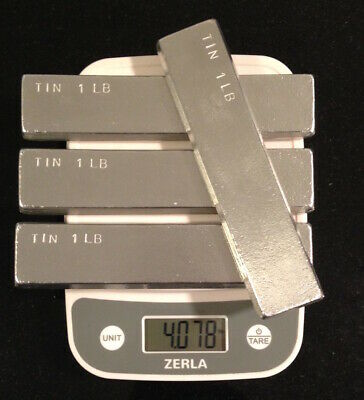 Tin Metal Ingot 99% Pure - 4 Pounds Total in 4 One Pound Bars