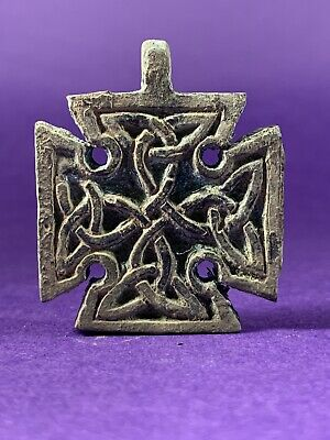 Highly Detailed Double Sided Ancient Celtic Bronze Cross With Celtic Knot