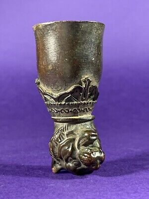 Scarce Ancient Crusaders Bronze Wine Cup Decorated With Tiger Head Ca 1100 Ad